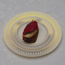10.25in. Gold Ovals Design Premium Plastic Wedding Plates  C