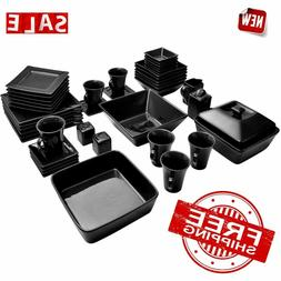 10 Strawberry Street Square 45 Piece Dinnerware Set, Black
