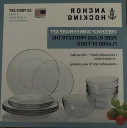 $10 Down Now! Clear Anchor Hocking 12-Piece Presence Dinnerw