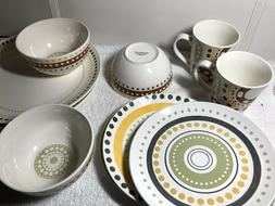 RACHAEL RAY 10-PIECES of Circles &Dots DINNERWARE STONEWARE