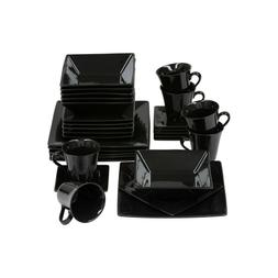 10 Strawberry Street Nova 30 Piece Dinnerware Set - Black Ne