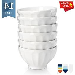 Sweese 1115 Porcelain Fluted Latte Bowl Set - 14 Ounce Stabl