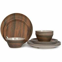 12 Dinnerware Sets Pcs Melamine , Camping Dishes, Lightweigh