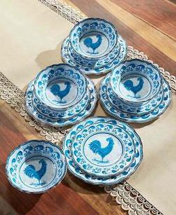 Country Rooster Melamine Dinnerware Set - 12 Piece Farmhouse