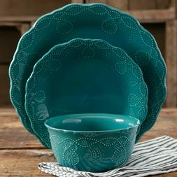12-PC Elegant Dinnerware Embossed Lace Set Dishes Plates and