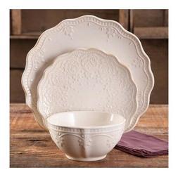 12-PC Elegant Dinnerware Farmhouse Lace Set, Dishes Plates &