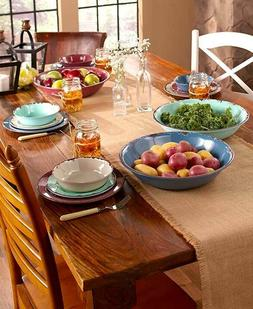 12 Pc Rustic Melamine Dinnerware Set Oversized Serving Bowls