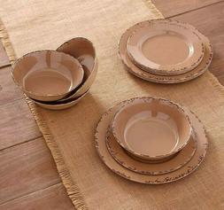 12 PCS Farmhouse Melamine Dinnerware Set, Plates and Bowls