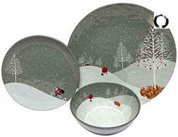 Melange 12-Piece 100% Melamine Dinnerware Set for Shatter-Pr