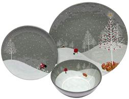 Christmas Dishes Dinnerware Sets 4 Serving Heavy Duty Holida