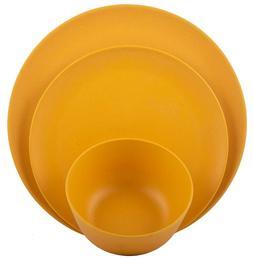 Melange 12-Piece Bamboo Dinnerware Set  | Shatter-Proof And