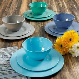 Brela 12-Piece Melamine Dinnerware Set Service for 4 Blue Mi
