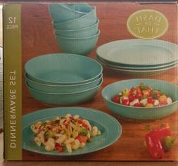 12 piece ceramic dinnerware set teal blue