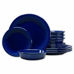12 piece classic dinnerware set in cobalt