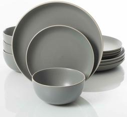 12 Piece Dinnerware Set, Grey Gibson Home Rockaway