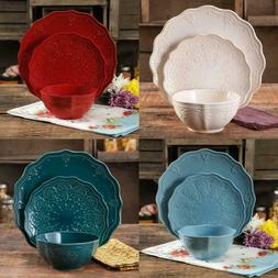 12-Piece Dinnerware Set Lace Stoneware Plates Dishes Bowls -