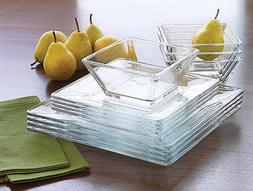 12-Piece Dinnerware Set Modern Square Clear Glass Dinner Pla