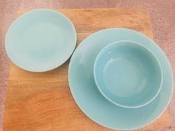 Mainstays 12-Piece Dinnerware Set, Turquoise NEW