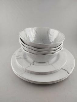 12 Piece Dinnerware Set White Marble Pattern Design Dishwash