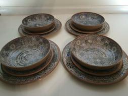 Melange 12 Piece Melamine Dinnerware Set Blue & Gray Morocca
