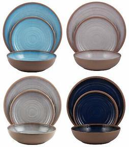 Melange 12-Piece Melamine Dinnerware Set  | Shatter-Proof an