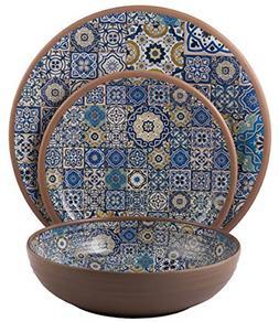 Melange 12-Piece Melamine Dinnerware Set Moroccan Tiles | Sh