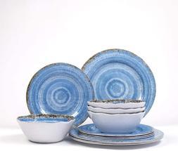 12 piece melamine dinnerware set rustic blue