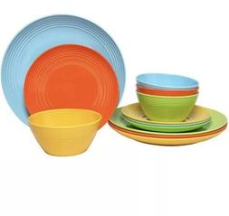 Melange 12-Piece Melamine Dinnerware Set Solids Collection
