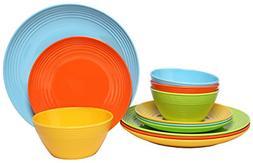 Melange 12-Piece  Melamine Dinnerware Set Solids Collection