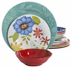 12-Piece Melamine Dinnerware Set Floral Vibrant Colorful Dur