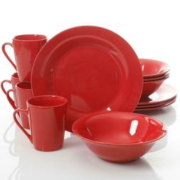 12 piece red dinnerware set serving dishes