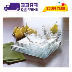 12-Piece Square Clear Glass Dinnerware Kitchen Dining Meal G