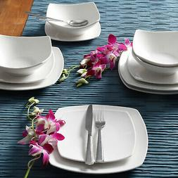 12-Piece Square Dinnerware Set Dinner Dessert Plates Bowls C