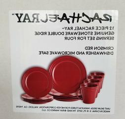 Rachael Ray 12-Piece Stoneware Dinnerware Set, Crimson Red 5