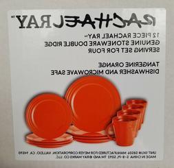Rachael Ray 12-Piece Stoneware Dinnerware Set, Tangerine Ora