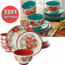 12 Piece Vintage Vibrant Floral Patterns and Scalloped Edges
