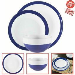 12 Pieces Blue/White Round Ceramic Dinnerware Set Home Kitch