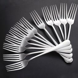 1-12PCS Stainless Steel Silverware Polished Forks Dinner Fla