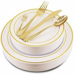 150 pcs Gold/Rose Gold Disposable Dinnerware Set, Plastic Si