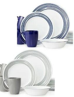 16-pc Corelle BRUSHED STROKES Dinnerware Set *Cobalt Blue or