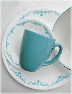 16-pc Corelle GARDEN LACE Dinnerware Set *TEAL BLUE Turquois