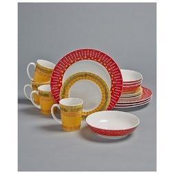 16 Pc Dinnerware Set Colorful Stripes Dots Dinner Plates Sal