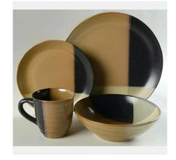 Sango 16 Pc Dinnerware Set, Gold Dust Black, 4 place setting
