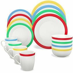 16 PC Dinnerware Set Service For 4 Round Porcelain Dinner Pl