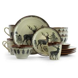 16 PC Elk Dinnerware Dish Set Plate Bowl Mug Kitchen Wildlif