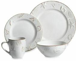 16 PC Stoneware DINNERWARE SET Service for 4 Plates Bowls Mu