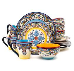 16 Pcs Round Dinnerware Set Stoneware Spanish Floral Design
