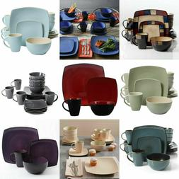 16-Piece Beautiful Square Dinnerware Set Kitchen Plates Dish