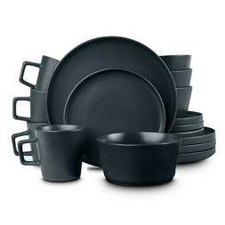 16 Piece Black Stoneware Kitchen Dishes Plates Mugs Bowls Di