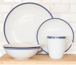 10 Strawberry Street 16-Piece Blue Band Coupe Dinnerware Set